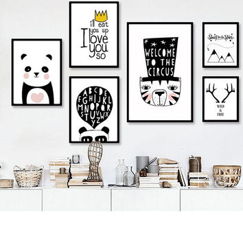 Modern Black White Nordic Kawaii Animal Quotes Art Print Poster Wall Picture Nursery Canvas Painting No Frame Baby Room Decorati