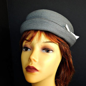 Gray Hat Rolled Brim Breton Slouchy Woven Straw
