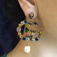 GUCCI New Fashion Animal Letter Pearl Earrings Diamond Rhinestone Tassel Earrings