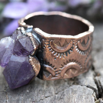 Raw Amethyst Ring Amethyst Cluster Ring Amethyst Jewelry Raw Crystals and Stones Raw Crystal Ring Natural Stone Ring Gemstone Ring Size 8.25