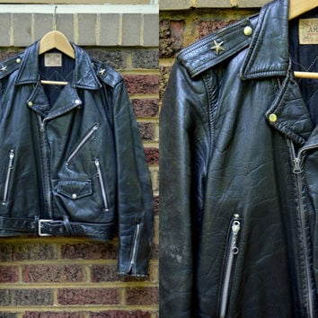 Vintage 1940's AMC Sportswear Bullhide Leather Motorcycle Jacket