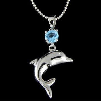 GENUINE BLUE TOPAZ STERLING SILVER 925 HAWAIIAN DOLPHIN PENDANT