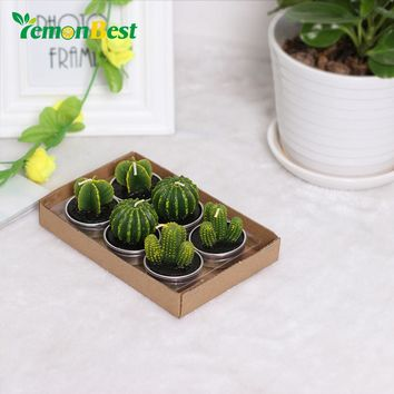 LemonBest 6PCS/set Home Decor Cactus Candle Table Tea Light Garden Mini Wax Green Candles For Wedding Birthday Decoration