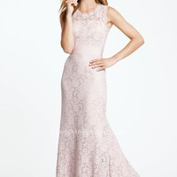 Gorgeous Sleeveless Scallop Crew Neck Blush Lace Slim A-line Long Bridesmaid Dress