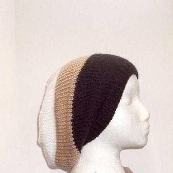Oversized beanie Slouch hat ,brown,tan and white hand knitted   4795