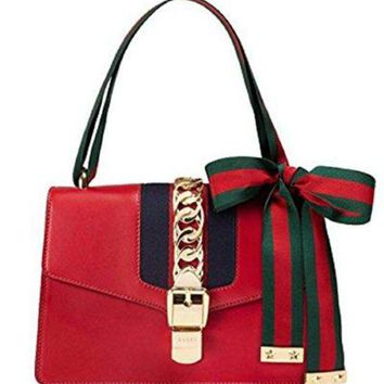 DCCK6N8 Gucci Women's Red Leather Inclined Shoulder Bag