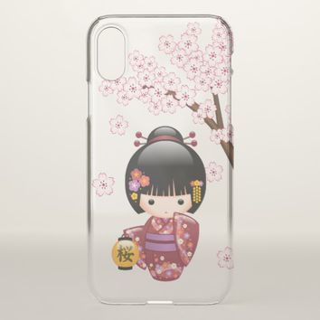 Sakura Kokeshi Doll - Geisha Girl iPhone X Case