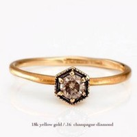 catbird :: shop by category :: Jewelry :: Wedding & Engagement Rings :: Hexagon Ring with Champagne Diamond