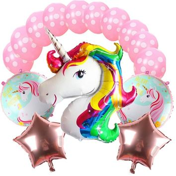 QGQYGAVJ 15 birthday party decoration children's foil balloon latex Unicorn balloon party supplies wedding decoration