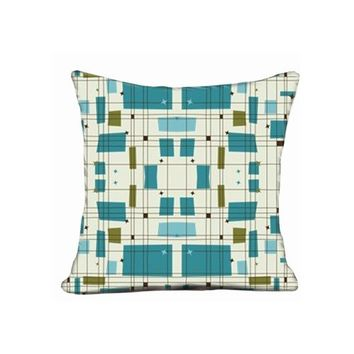 "Popular Pillowcase Cover Midcentury Modern Grid Stars Teal Pillow Case For 20""x20"" Pillow Cover"