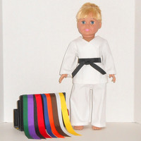 American Girl Doll or Boy Clothes Karate Martial Arts Outfit with 9 Colored Belts fits 18 inch dolls