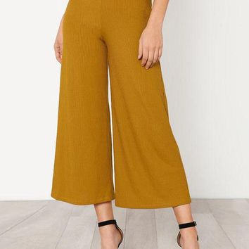 Elastic Waist Solid Culotte Ginger Pants