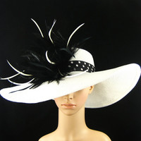 Derby Hat,Kentucky Derby Hat with Polka Dot hat band,Dress Hat, Wide Brim Hat ,Wedding Hat,Tea Party Hat ,Ascot hat