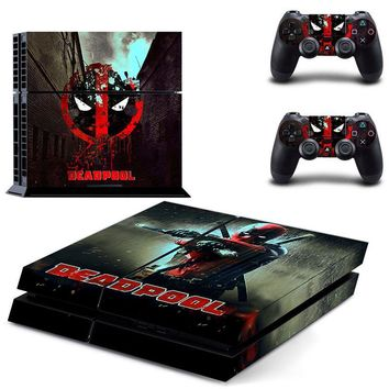 PS4 Skin Decals DeadPool Marvel Stickers For Sony Playstation 4 Console and 2 Controllers Skin