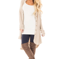 Stone Knit Long Cardigan with Cut Out Details on Shoulders
