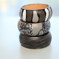 Neutrals wooden bangle, gorgeous modern design, natural chocolate, black, silver, a deep brown boho chic bangle