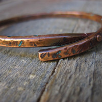 Riveted copper bracelet with marine blue patina by CopperTreeArt