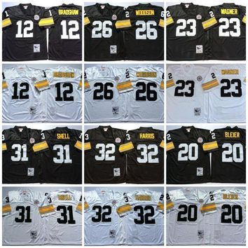 Cheap Throwback Football Jersey 12 Terry Bradshaw Jerseys Men 20 Rocky Bleier 23 Mike Wagner 26 Rod Woodson 31 Donnie Shell 32 Franco Harris