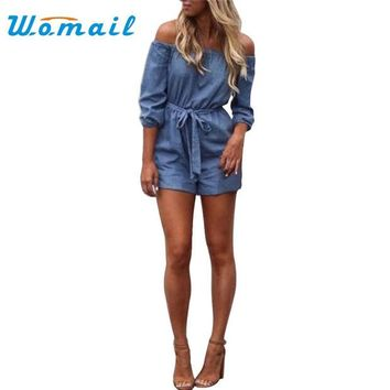 DKF4S Womail Fashion 2017 Sexy Women Off Shoulder Playsuit Casual Vintage Short Rompers Womens Jeans Jumpsuit S-XL #20 Gift 1pc