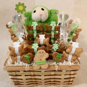 Dog biscuit treat gift basket with squeak toy, unique gift, green, white, custom, personalized, birthday
