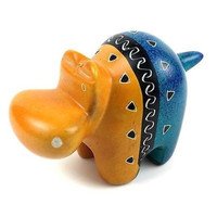 Handcrafted Tan and Blue Soapstone Hippo - Smolart