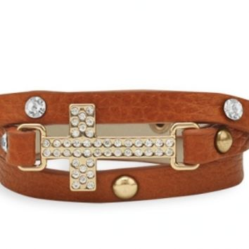 LeatherWrap Bracelet with Silver Tone Crystal Cross