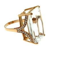 Jack Vartanian 18k Rose Gold Diamond White Quartz Cocktail Ring sz 6.5 | Portero Luxury