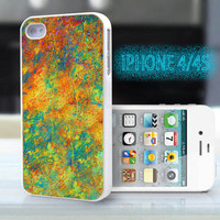 unique iphone case,glitter i phone 4 4s case,cool cute iphone4 iphone4s case,stylish  plastic rubber cases,vintage yellow green floral , ZB8