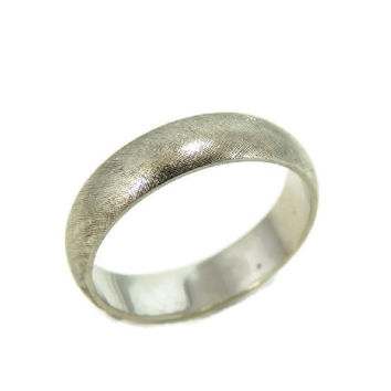 Vintage 14k Wedding Band White Gold Satin Matte Artcarved