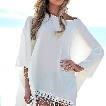 DCCK7N3 Summer Beach Wear Women Cover-Ups Chiffon Dress Poncho Cape Pullover Tassel Loose Batwing Sleeve Swimming Wear Plus Size M6514