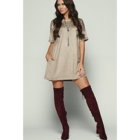 Take The Blues Away T-Shirt Dress (Mocha)