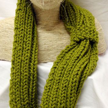 Hand Knit Chunky Knotted Cowl Scarf for Women- Lime Green