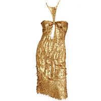 Rare TOM FORD for GUCCI Gold Sequined Silk Dress