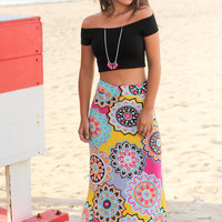 Yellow and Pink Medallion Printed Maxi Skirt