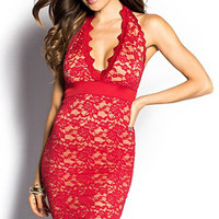 Red Plunging V Neckline Halter Lace Mini Dress