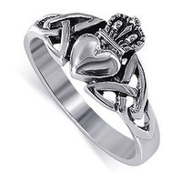 LWRS043-5 Sterling Silver Irish Claddagh Friendship and Love Band Polish Finish Ring Size 5