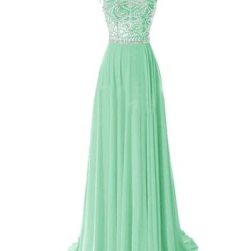 Tidetell Elegant Floor Length Bridesmaid Cap Sleeve Prom Evening Dresses Mint Size 4