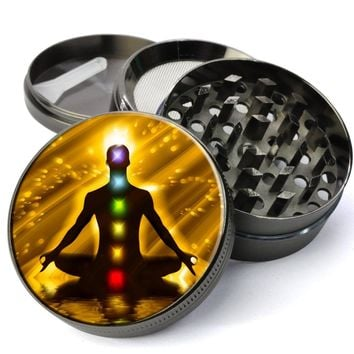 Chakra Meditation Extra Large 4 Chamber Spice & Herb Grinder With Microfine Screen
