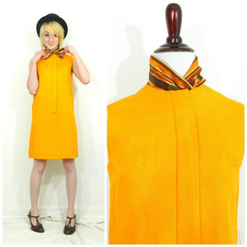 60s vintage shift dress with ascot / Orange sack dress / Mod mustard yellow bow tie dress Jeune Lique size small