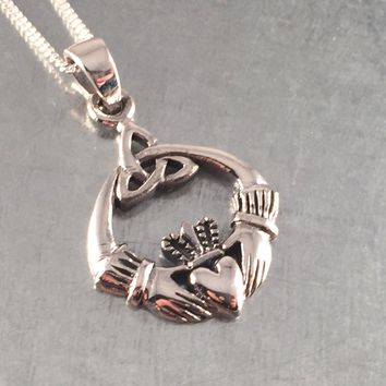 Claddagh Necklace, Love Necklace, Irish Necklace, Sterling Silver Claddagh Necklace, Romance, Love Necklace, Claddagh Jewelry