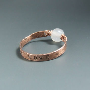 True love ring, rose quartz ring, copper ring, personalized jewelry, heart healing gemstone jewelry