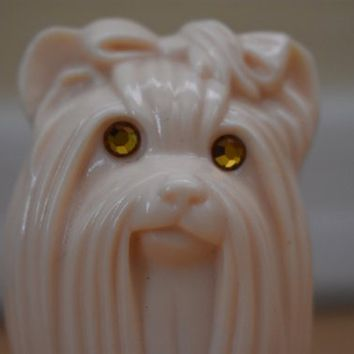 Vintage Avon Perfume Bottle Yorkshire Terrier Sculpture Bottle Knick Knack Figurine