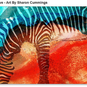 Zebra Art Print from Painting Zebras Zoo Animals African Stripes Red Aqua Colorful Big CANVAS Ready To Hang Large Artwork Contemporary Teal