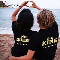 Novelty Printed Couple T-shirt Family King Queen Letter Tops Cute Letter Lover Tees Short Top Shirt For Men Women Love Gift