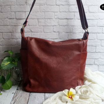 Leather crossbody bag - Leather woman sling bag - leather sling bag - simple leather hobo bag - FREE SHIPPING