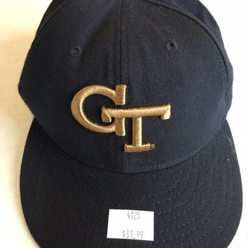 GEORGIA TECH NCAA  NEW ERA 5950 NAVY FITTED HAT SHIPPING