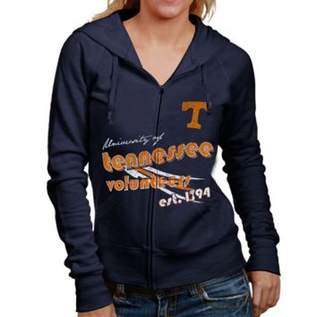 Tennessee Volunteers Ladies Navy Blue Retro Distressed Full Zip Hoodie Sweatshirt