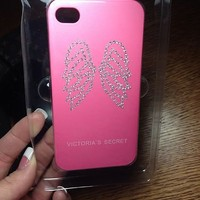 Victorias Secret I phone 4s case Pink With Crystal Wings