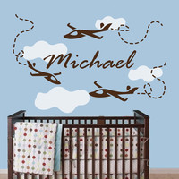 Nursery Wall Decals Personalized Name Decal  Baby Boy Bedroom Room Plane Airplane Clouds Vinyl Sticker Home Decor Murals MA279