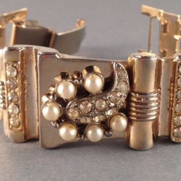 Vintage Pearls and Rhinestone Bracelet by Oldtonewjewels on Etsy